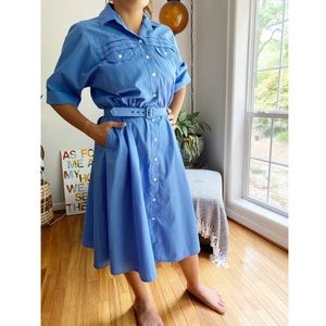 Vintage 60's/70's Belted Midi Shirt Day Dress